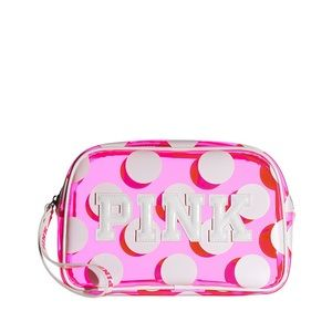 PINK POLKA DOT WRISTLET BEAUTY BAG